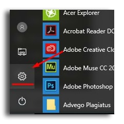 кнопка параметры на windows 10