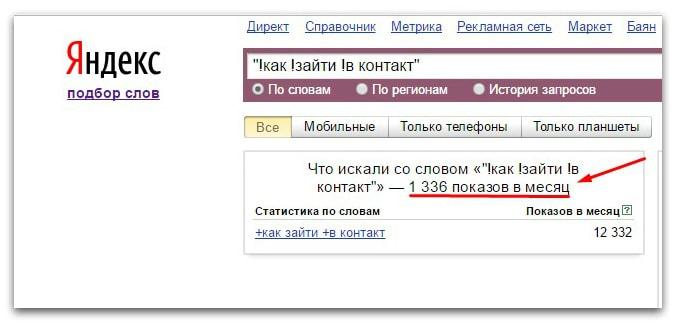 яндекс вордстат число запросов в месяц в прямом вхождении